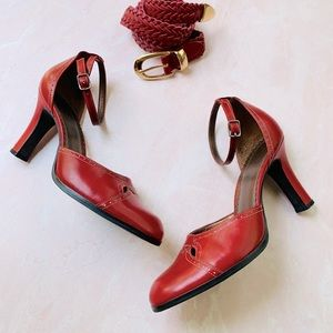 Franco Sarto Red Leather Cutout Ankle Strap Heels